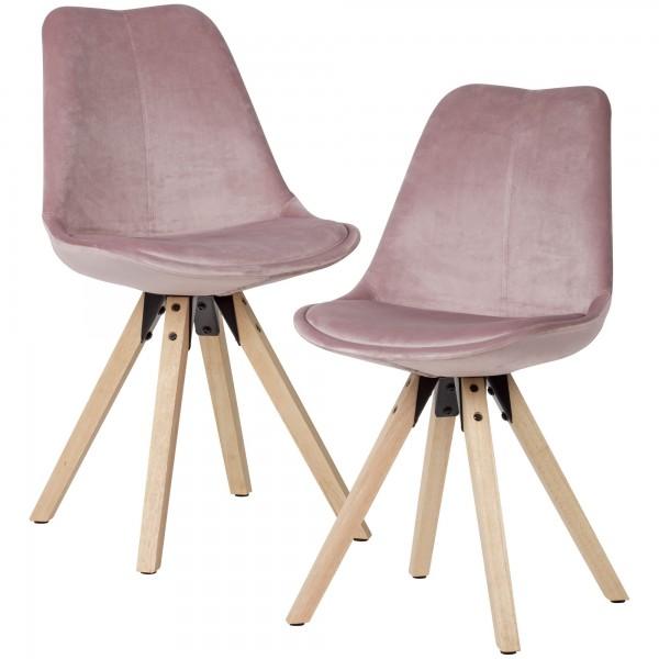 Moderner Esszimmerstuhl, 2er Set, in Samt-Optik, ohne Armlehnen, Stoff Küchenstühle mit Holzbeinen, Schalenstuhl Gepolstert, Maximalbelastung 110 kg