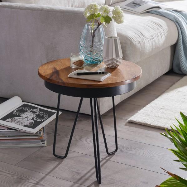 Beistelltisch 43x45x43 cm, Sheesham Holz, Metall Couchtisch, Industrial Style, Echtholz Sofatisch, Metallbeine