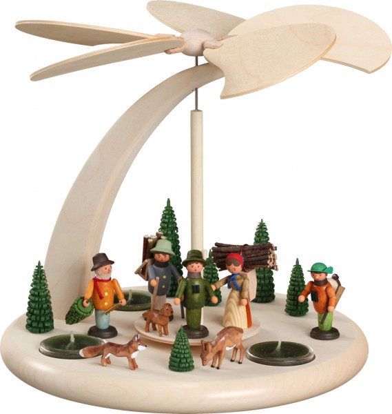 """Bogenpyramide / Weihnachtspyramide, """"Waldleute"""", aus Holz, natur, Höhe 25 cm"""