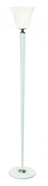 Stehleuchte / Standleuchte, Mazda Replika, Art déco Stil, Messing vernickelt, Sockel u. Schaft weiß lackiert, Höhe 180 cm, 230 V, E27 60 W
