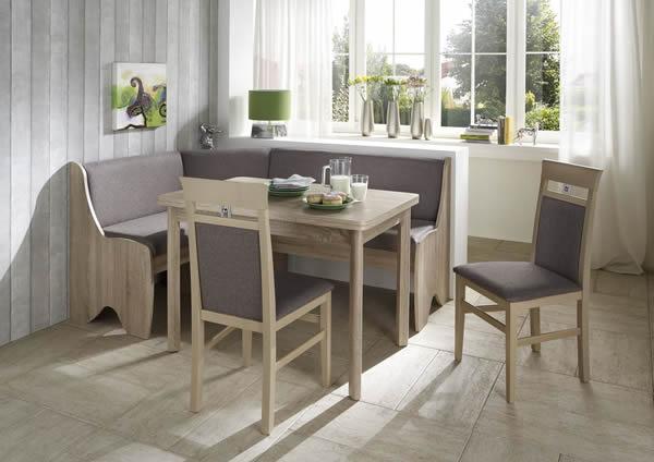 Truhen-Eckbankgruppe Eiche Sonoma Dekor; Eckbank, 2 Stühle und Vierfußtisch, Bezug: grau-braun, variabel aufbaubar
