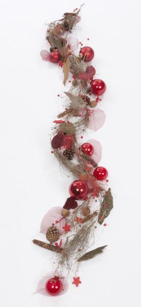 """Filigrane Girlande """"Christmas"""", ca. 170 cm lang, Grundfarbe rot, Unikat, Handwerksarbeit, Weihnachts Tischschmuck / Wandschmuck"""
