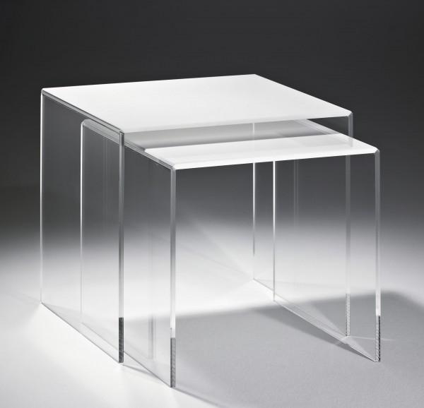 Hochwertiger Acryl-Glas-Glas Zweisatztisch, klar / weiß, 40 x 33 cm, H 36 cm und 33 x 33 cm, H 33 cm, Acryl-Glas-Glas-Stärke 8 mm