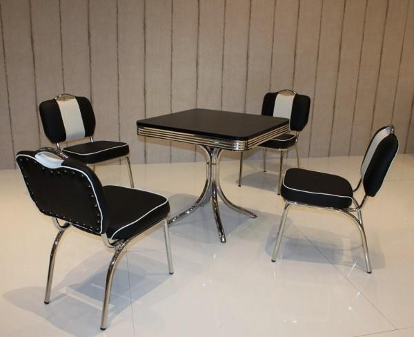 """Tischgruppe """"Phoenix"""", American Diner Style; Bistrotisch und 4 Bistrostühle; Bezug: schwarz/weiß; Tischplatte schwarz"""