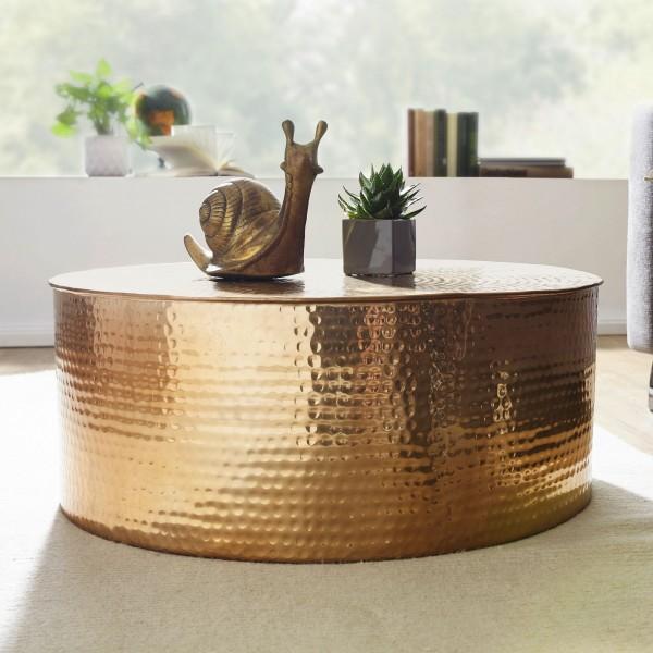 Design Couchtisch 75x31x75 cm, Aluminium Beistelltisch, Orientalisch Rund, Flacher Hammerschlag, Sofatisch Metall
