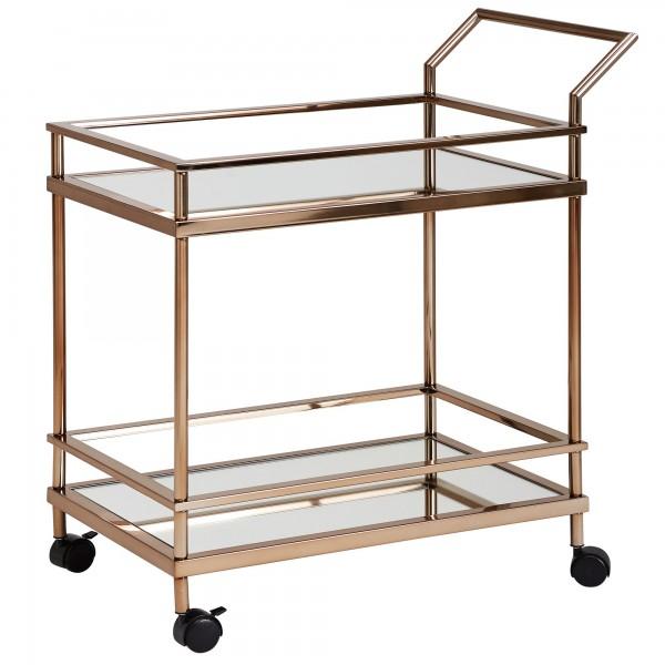 Design Servierwagen, Gold, metall, 2 Ebenen, mit Bremsen, Beistelltisch auf Rollen, Speisewagen mit Glasplatte, Küchenwagen, Teewagen