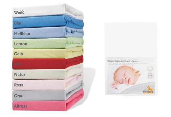 Pinolino Spannbettuch für Wiegen und Anstellbettchen, weiß, aus 100% Baumwolle, passend für Matratzen von L 70 x B 40 cm bis L 90 x B 55 cm