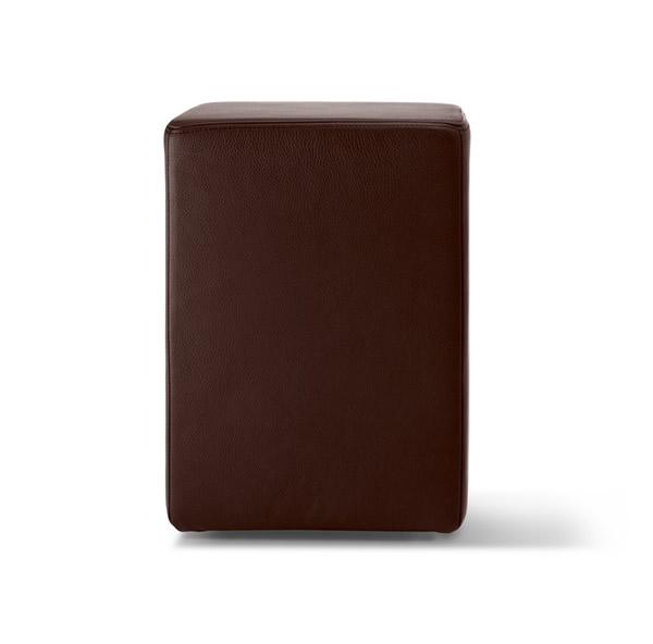 Pomp Lederhocker, echtes Leder, braun, B = 33 cm, T = 33 cm, H = 47,5 cm, in Stuhlhöhe mit komfortabler Polsterung