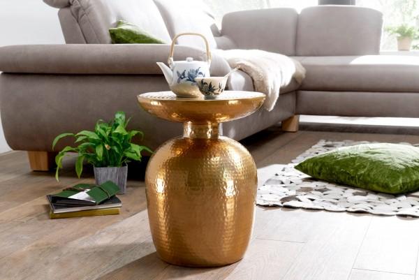 Design Beistelltisch Aluminium 36,5x46x36,5 cm Dekotisch Gold orientalisch rund | Designer Ablagetisch Metall modern | Anstelltisch schmal | Kleiner Hammerschlag Abstelltisch