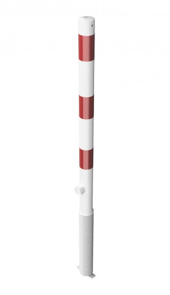Absperrpfosten, herausnehmbar per Dreikantverschluss, zum Einbetonieren, aus Stahlrohr Ø 60 mm, verzinkt und beschichtet, weiß/rot, Überflur 900 mm