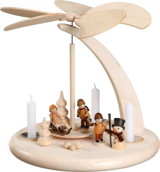 """Bogenpyramide / Weihnachtspyramide, """"Winterkinder"""", aus Holz, natur, Höhe 25 cm"""