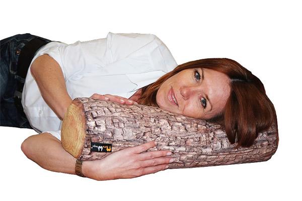 MeroWings Forest Log Arm-, Bein-, Nacken- und Rückenstütz-Kissen, Ø 16 cm, Länge 55 cm, mit originalgetreuem Fotodruck, für den Innenbereich