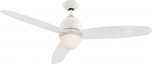 Deckenventilator / Lüfter beleuchtet, Kunststoff, weiß glänzend, Blätter aus Kunststoff, durchsichtig, dimmbar, Ø 132 cm, Höhe 43,1 cm