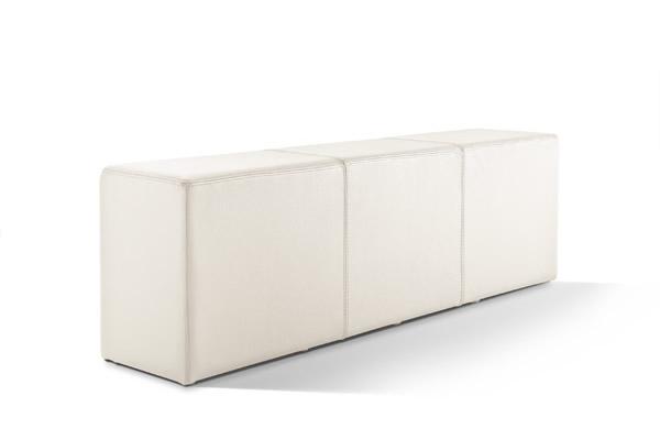 Pomp Bank, echtes Leder, cremeweiß, B = 150 cm, T = 33 cm, H = 47,5 cm, Sitzbank in Stuhlhöhe mit komfortabler Polsterung