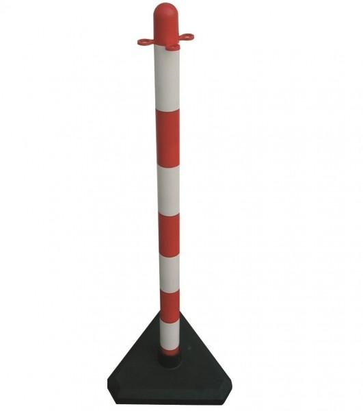Kettenständer, aus Kunststoff, weiß/rot, mit 2 Ösen, mit dreieckiger 3 kg Fußplatte aufzustellen, Ø 40 mm, Höhe 900 mm