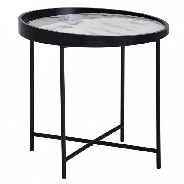 Design Beistelltisch Rund, Ø46 cm, Marmor Optik Weiß, Anstelltisch, Metallbeine Schwarz, Telefontisch