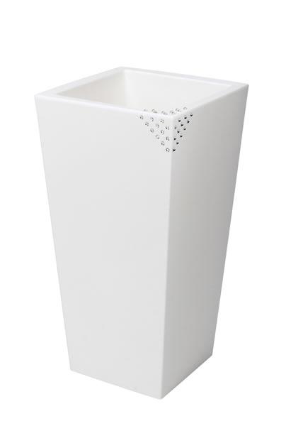 """Blumentopf / Pflanztopf Nicoli """"Eros"""" mit original Swarovski Kristallen, Motiv Pyramid, B30 x H60 x T30 cm, matt, 14 l Inhalt, für Innen und Außen, aus hochwertigem Polyethylen, weiß oder anthrazit"""
