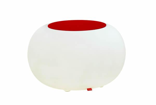 Moree Bubble, Pro Akku, LED beleuchteter Sitzhocker, mit rotem Filzkissen, Ø 68 cm, H 41 cm, Oberfläche Ø 40 cm, Polyethylen, seidenmatt, weiß, mit E27 (230 V) Vielfarben LED, mit Fernbedienung und Akku, für Innen