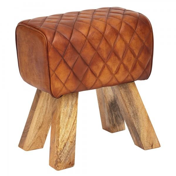 Sitzhocker Echtleder/Massivholz, Modern Fußhocker, Turnbock Lederhocker Braun, Kleiner Hocker Gepolstert, Holzhocker mit Leder-Bezug