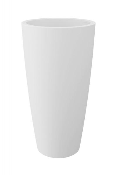 Blumentopf / Pflanztopf, weiß, matt, mit herausnehmbarem Pflanz-Einsatz, für Innen und Außen, aus hochwertigem Polyethylen
