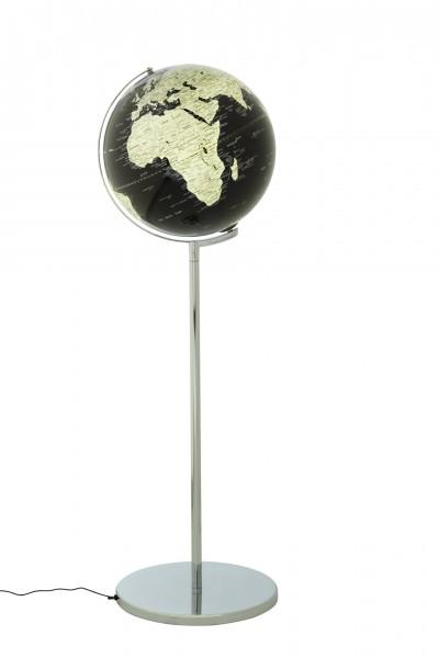 Moderner LED Leuchtglobus / Standglobus / Weltkugel, aus Metall, verchromt und Kunststoff, Ø42,5 x H132 cm