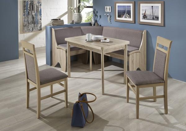 Truhen-Eckbankgruppe, Eiche Sonoma Dekor mit massiven Applikationen; Eckbank, 2 Stühle und Tisch mit Auszügen und Rundecken; Bezug: Flachgewebe grau-braun; variabel aufbaubar