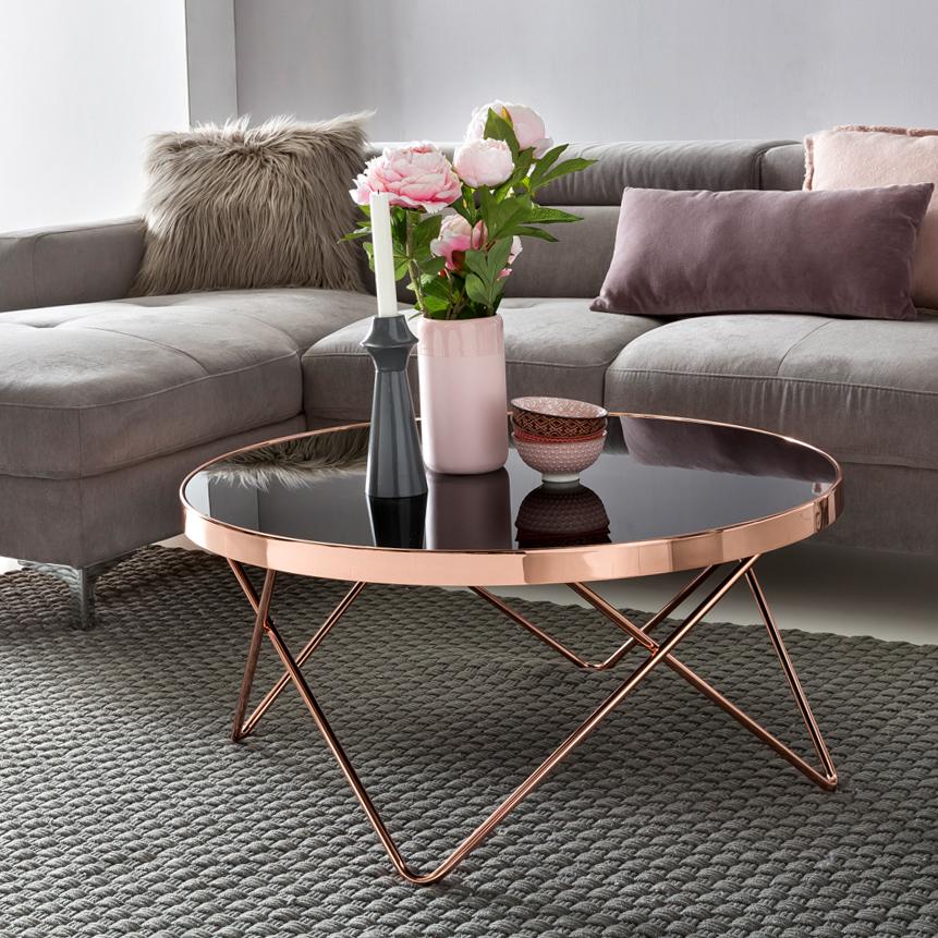 Stilvoller Couchtisch Wohnzimmertisch Rund Kupferfarben Und Schwarz Aus Metall Und Sicherheitsglas