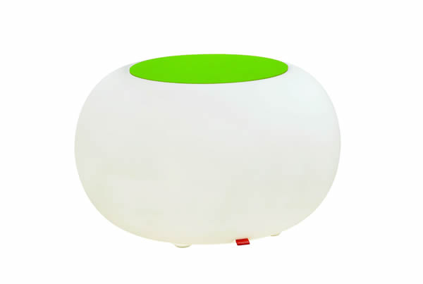 Moree Bubble, Akku LED beleuchteter Sitzhocker, mit grünem Filzkissen, Ø 68 cm, H 41 cm, Oberfläche Ø 40 cm, Polyethylen, seidenmatt, weiß, mit Vielfarben LED, mit Fernbedienung und Akku, für Außen