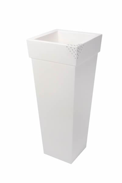 """Blumentopf / Pflanztopf Nicoli """"Geryon"""" mit original Swarovski Kristallen, Motiv Pyramid, B40 x H100 x T40 cm, matt, 41 l Inhalt, für Innen und Außen, aus hochwertigem Polyethylen, weiß oder anthrazit"""
