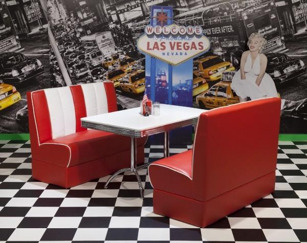 """Bankgruppe """"Detroit"""", American Diner Style; Doppelsäulen Bistrotisch und 2 Bistropolsterbänke; Tischplatte polarweiß"""
