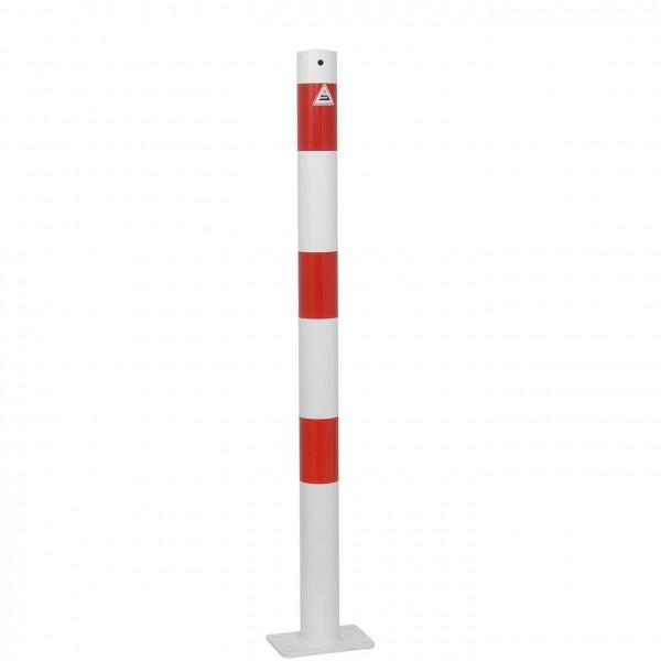 Absperrpfosten, ortsfest, zum Aufdübeln, aus Stahlrohr Ø 60 mm, verzinkt und beschichtet, weiß/rot, Überflurlänge 900 mm