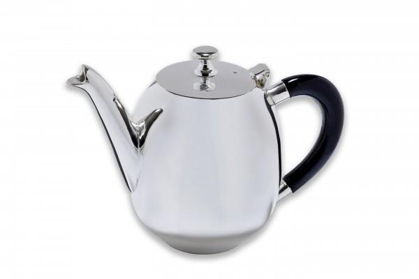 Teekanne, versilbert, mit schwarzem Griff, Höhe 16 cm, Breite ca. 22,5 cm inkl. Ausgießer u. Griff, ca. 1 l Inhalt