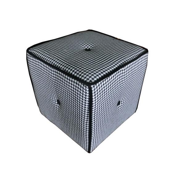 """Sitzhocker / Sitzwürfel """"Hahnentritt"""", Stoff aus Polyester, schwarz-weiß, B38 x T38 x H38 cm"""