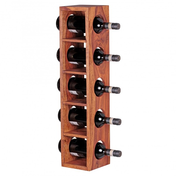 Weinregal Massivholz Sheesham, Flaschen-Regal, Wandmontage, für 5 Flaschen, mit Ablage