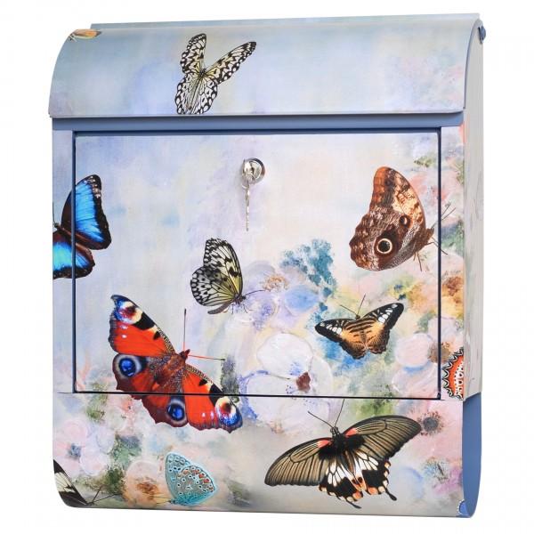 """Exklusiver Design-Briefkasten mit Zeitungsrolle, Stahlblech mit Motiv """"Schmetterling"""", Handarbeit, B38 x H45 x T12 cm, inkl. Bewegungsmelder, Lieferung im Geschenkkarton"""
