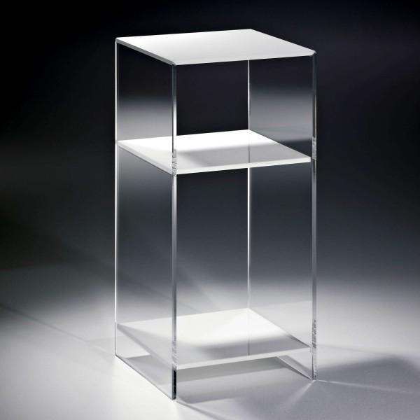 Hochwertiges Acryl-Glas Standregal, Konsole mit 2 Fächern, Regalböden weiß, Seiten klar