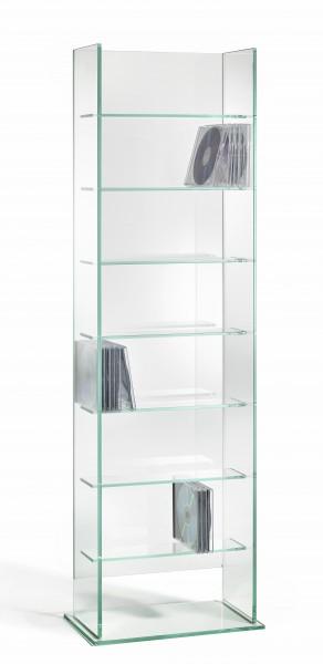 CD Ständer / CD Regal aus Glas, hochwertige Handarbeit, L35 x B20 x H113 cm, Glasstärke 8 / 6 mm