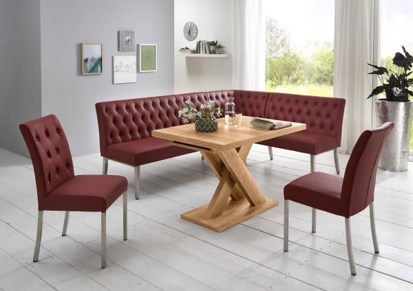 Moderne Eckbankgruppe, Honigeiche Dekor; Eckbank, 2 Stühle und Esstisch mit Synchronauszug; Bezug: Kunstleder, hoher Sitzkomfort, Sitzpolster aufwendig gefertigt; variabel aufbaubar