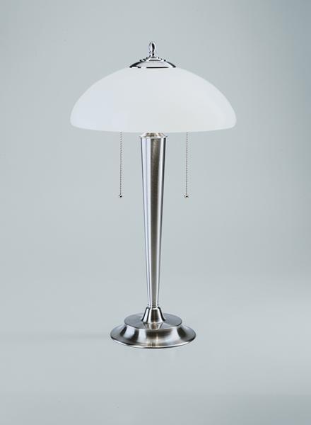 Tischleuchte / Pilzleuchte, Messing Nickel matt, Glas weiß glänzend, Höhe 55 cm, 230 V, 2 x E27 60 W
