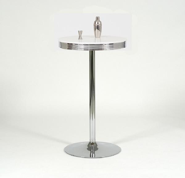 """Bistrotisch / Bartisch """"Charleston 3"""", Tischplatte polarweiß, rund, Retro / 50er-Jahre, Gestell Stahlrohr verchromt, Trompetenfuß, Ø 70 x H110 cm"""