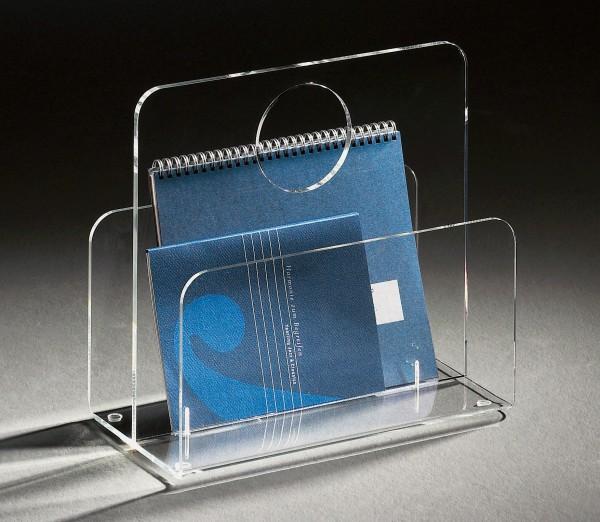 Hochwertige Acryl-Glas Zeitungstasche, Zeitungsständer, klar, 33 x 18 cm, H 31 cm, Acryl-Glas-Stärke 5 / 8 mm