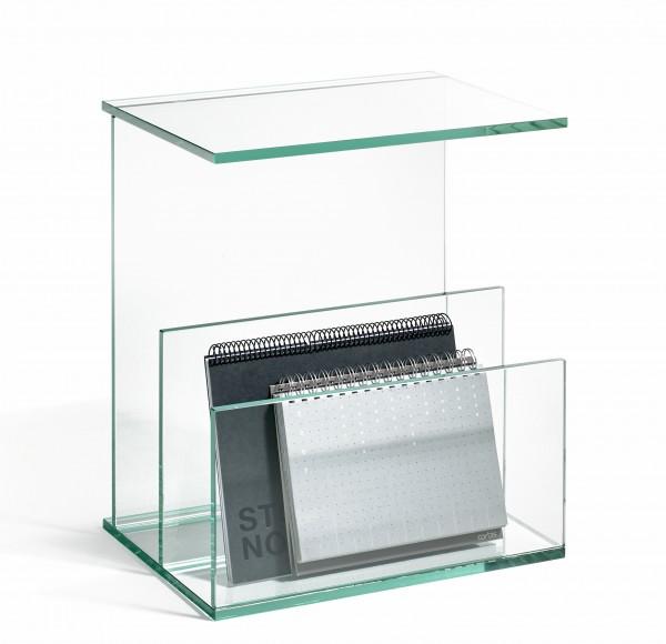Zeitungstisch aus Glas, Zeitschriftenständer, hochwertige Handarbeit, L25 x B35 x H42 cm, Glasstärke 10 mm