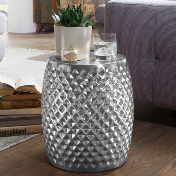 Design Beistelltisch 32x42x32 cm, Aluminium Anstelltisch Silber, Orientalisch Rund, Flacher Hammerschlag, Metall Sofatisch, Telefontisch modern