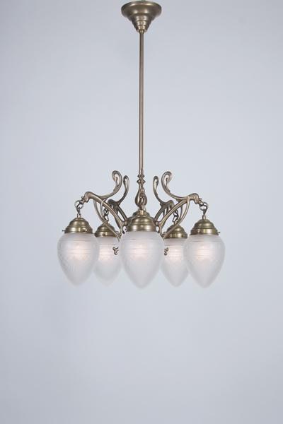 Deckenleuchte / Kronleuchter, 5-armig, Messing handpatiniert, Glas kristallmatt mit Schliff, Höhe 95 cm, Breite 56 cm, 230 V, 5 x E27 60 W