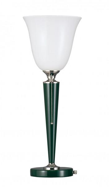 Tischleuchte, Art déco Stil, Messing vernickelt, Sockel u. Schaft grün lackiert, Höhe 57 cm, 230 V, E27 60 W