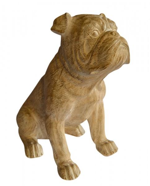 """XL-Figur / Deko-Tier / Figur, """"Bulldogge"""", Holzoptik, aus hochwertigem Polyresin, B27 x H42 x T46 cm, für Innen"""