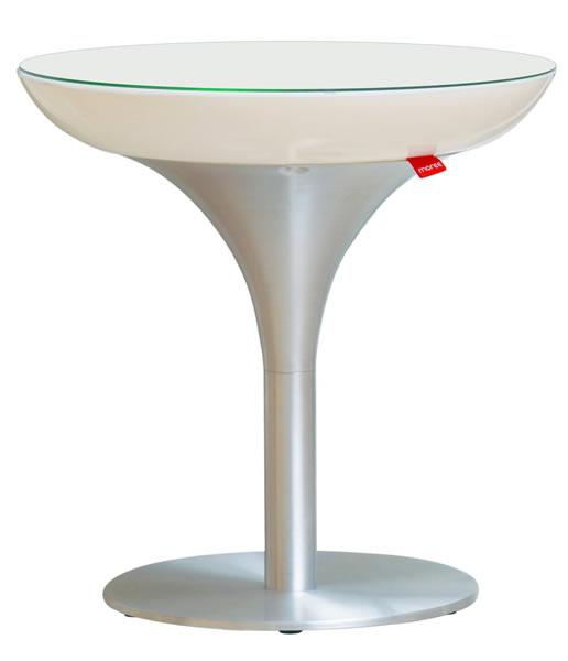 Moree Lounge Beistelltisch, S, Akku, LED beleuchtet, Ø 50 cm, H 50 cm, mit Glasplatte, ABS glänzend, weiß transzulent, Aluminium gebürstet, transparent beschichtet, mit Vielfarben-LED, Inkl. IR-Fernbedienung, mit Akku, für Innen
