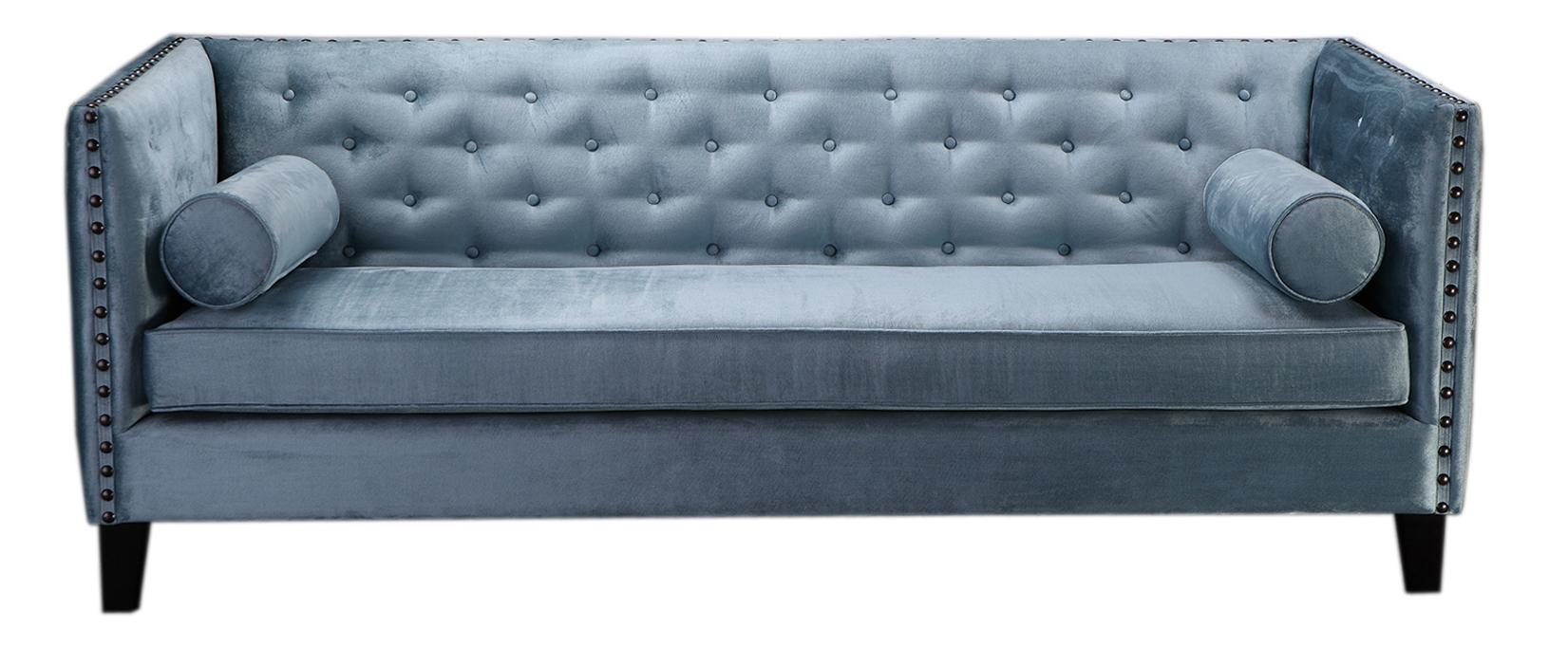 sofa 3 sitzer bezug aus stoff grau blau mit 2 kissenrollen b215 x t80 x h80 cm sofas. Black Bedroom Furniture Sets. Home Design Ideas