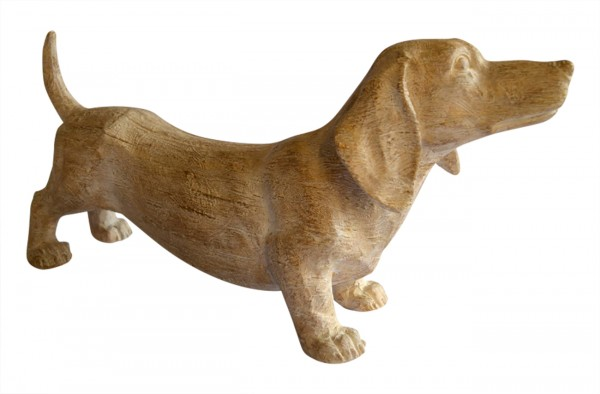 """XL-Figur / Deko-Tier / Figur, """"Dackel"""", Holzoptik, aus hochwertigem Polyresin, B15 x H24 x T48 cm, für Innen"""