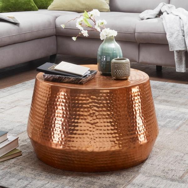 Design Couchtisch 60x36x60 cm, Aluminium, Beistelltisch, Orientalisch, Rund, Flacher Hammerschlag, Sofatisch Metall